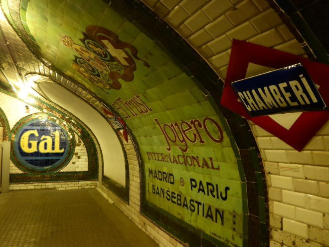 Chamberi, an old metro station operating 1919-1968. Madrid, Spain.