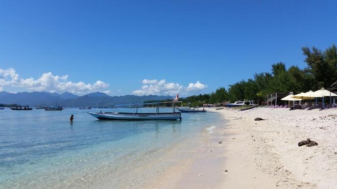 Beach front at Gili Trawangan. Indonesia