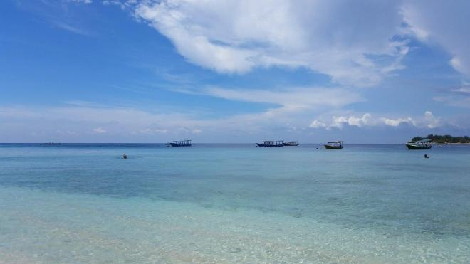 Nice and relaxing view from the sunbed. Gili Trawangan, Indonesia