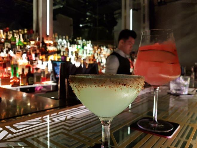 Drinks at Bank Bar. Speakeasy bar in Manila, Philippines