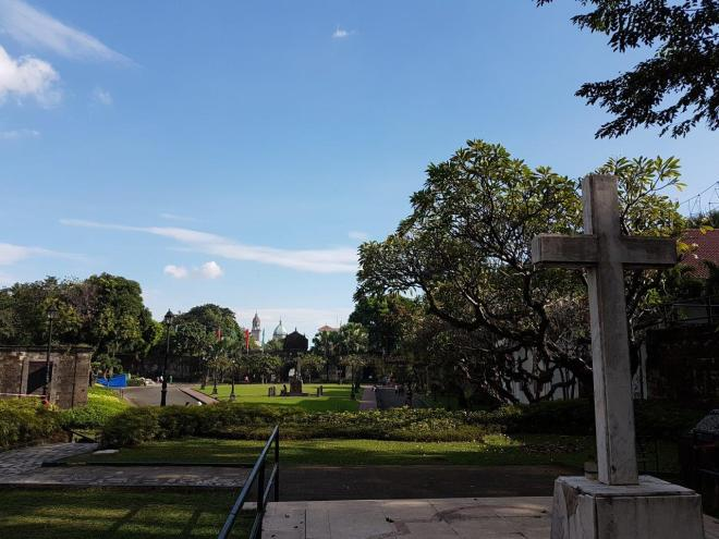 Nice and green areas inside Fort Santiago. The fort is a part of Intramuros, the old town of Manila, Philippines