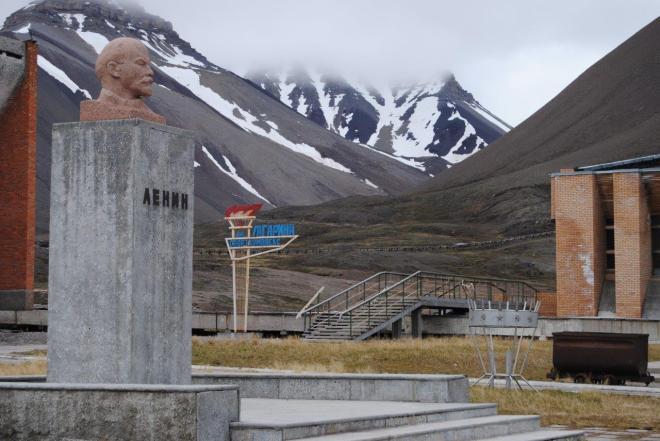The world's northernmost statue of Lenin. Pyramiden. Svalbard. Spitsbergen. Norway
