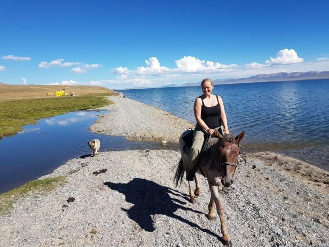 Afternoon ride along the shore oof Song Kul. Three day horse-riding trip to Song Kul, Kyrgyzstan.