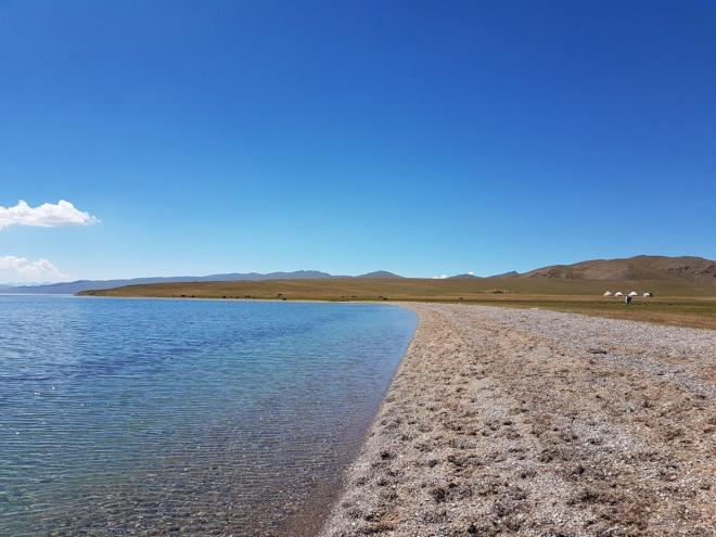 The beach and our yurt camp. Three day horse-riding trip to Song Kul, Kyrgyzstan.