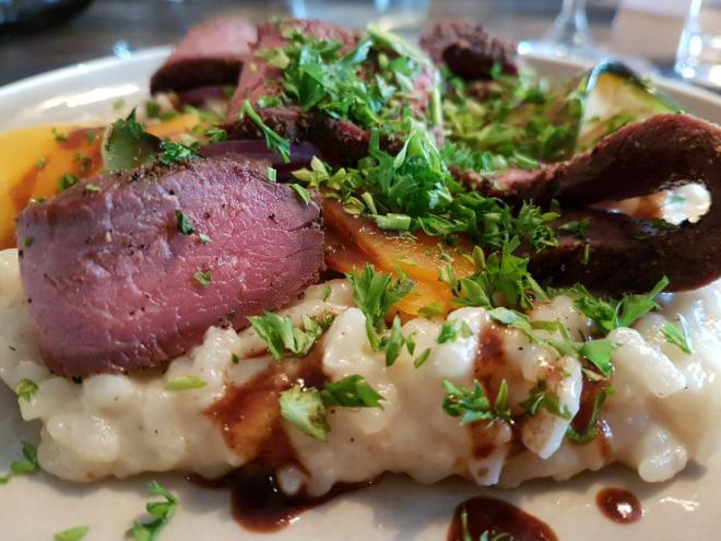 Delicious reindeer for dinner at Isfjord Radio, Svalbard, Norway.