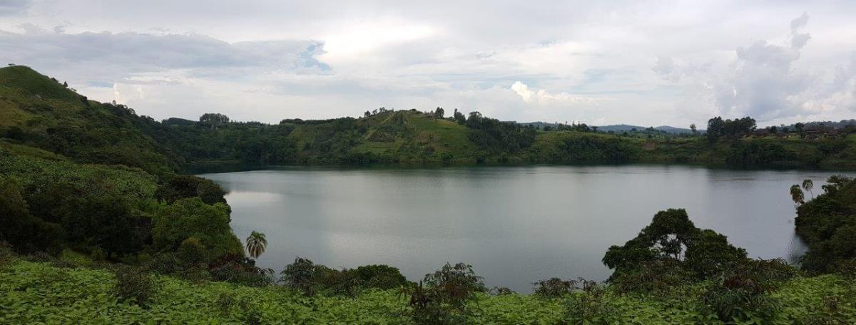 Beautiful lake view on our walk near Crater Safari Lodge by Kibale Forest National Park, Uganda.
