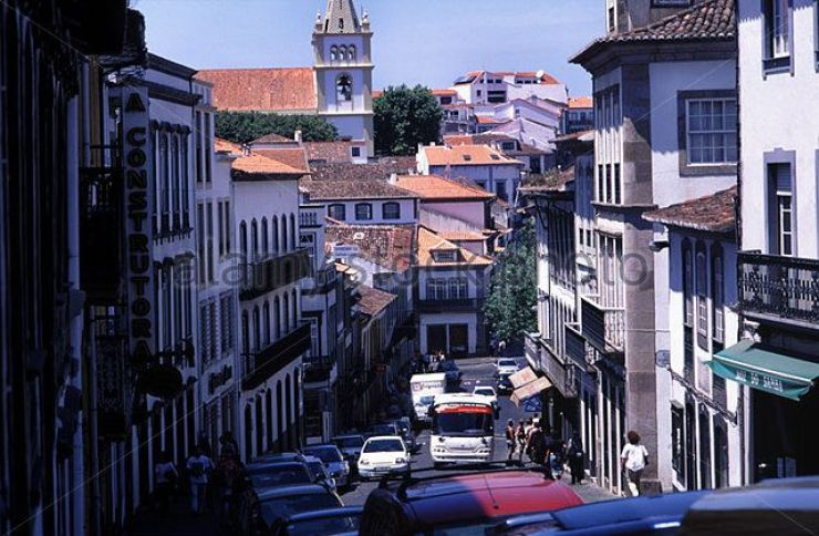 Street In Angra Do Heroismo On The Island Of Terceira In The Azores A6yca2