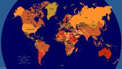 Bright Orange Blue World Map