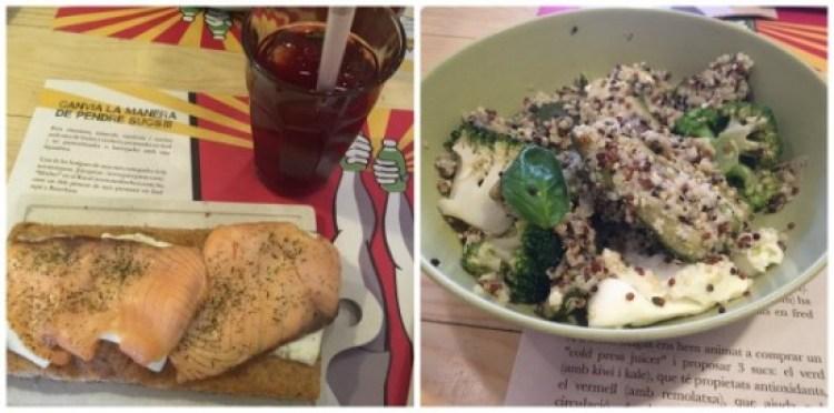 Lunch bij BuenasMigas. Een heerlijke focassia met zalm en een quinoa salade met brocolli