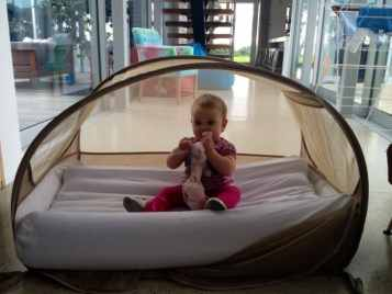 Baby travel items - pop up cot