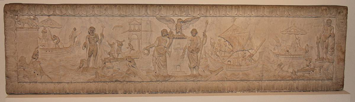 Front of the marble sarcophagus depicting Port of Ostia, Rome