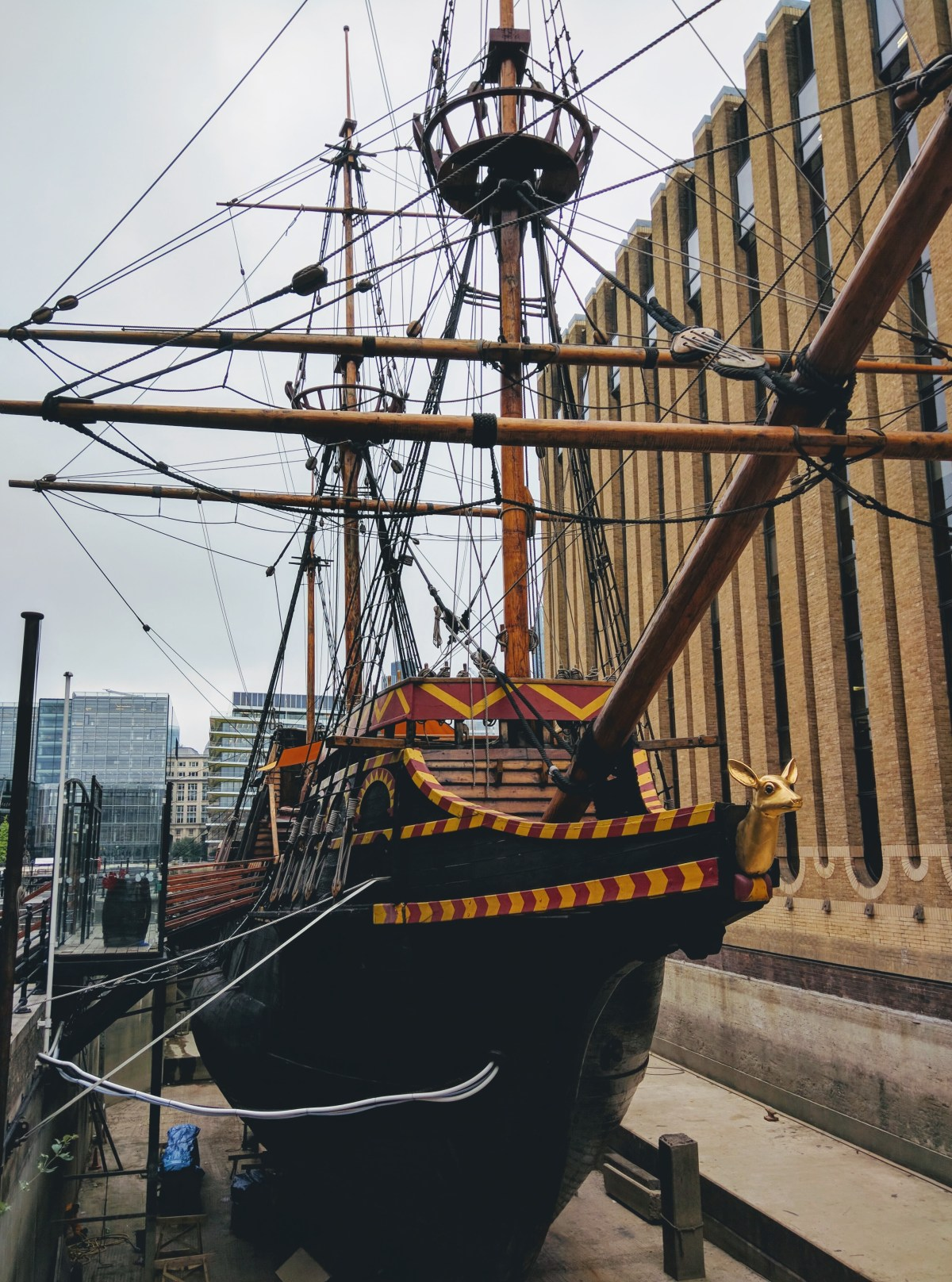 Golden Hinde II is the replica of Sir Francis Drake's ship.