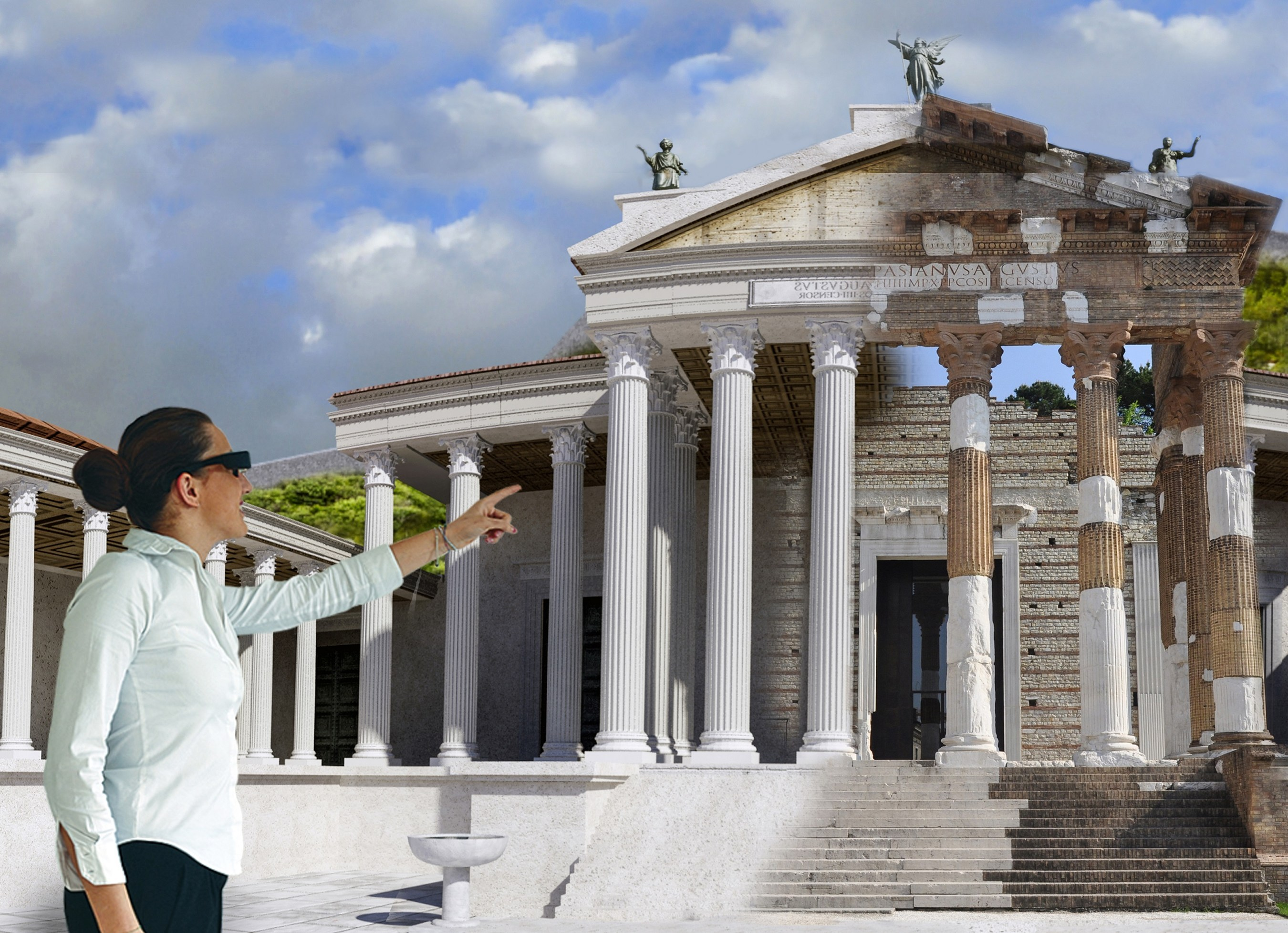 ARtGlass's augmented reality tour layers a digital reconstruction of the Capitolium at Pompeii over the visitor's real-world view of the ruin.
