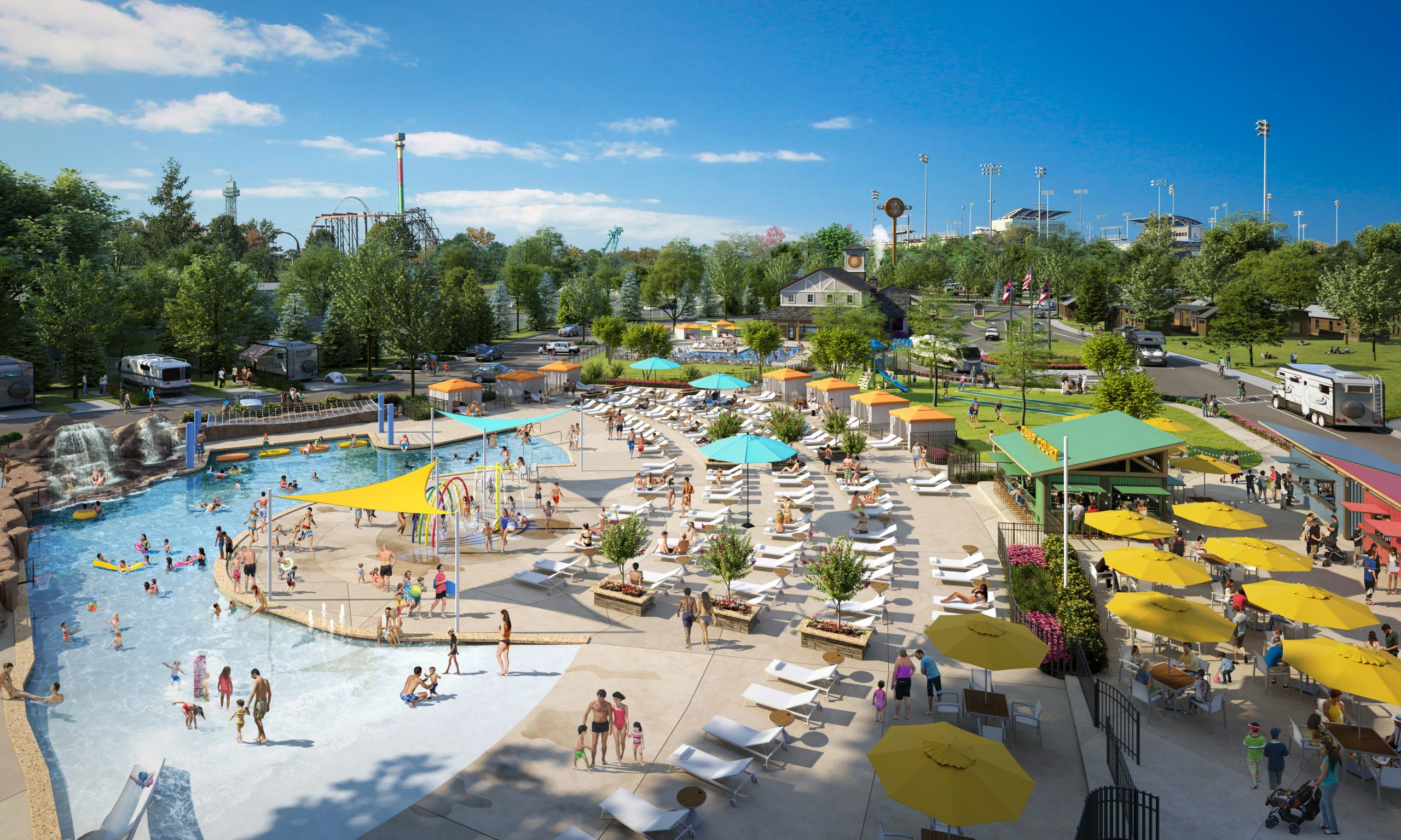Kings Island Camp Cedar, a year-round, luxury outdoor resort, will open spring 2021 as the official lodging destination for Kings Island Amusement Park in Mason, Oh. A hybrid resort and RV destination, guests will enjoy expansive pools, dining and shopping and family programing, events and amenities. Photo Credit: Kings Island Camp Cedar