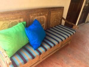 Wood Carving: Mayan bench at Hotel Don Moises