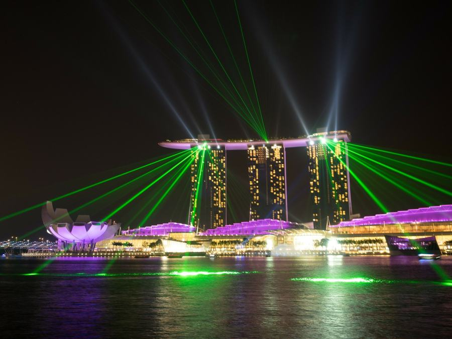 Best places to visit in Singapore with kids Marina Bay Sands Water and Light Show