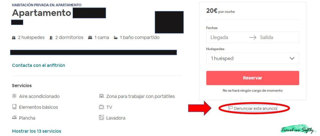 estafas en airbnb denunciar anuncio