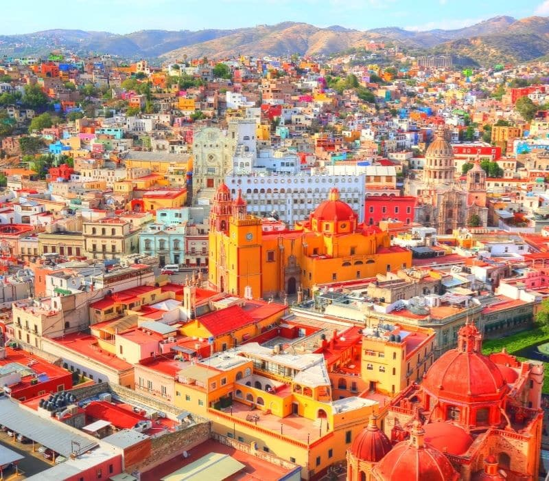 buildings in downtown in the colorful colonial city of guanajuato, mexico