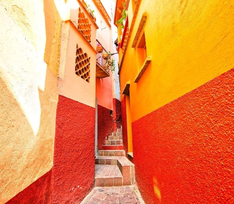 Narrow, colorful alleyway