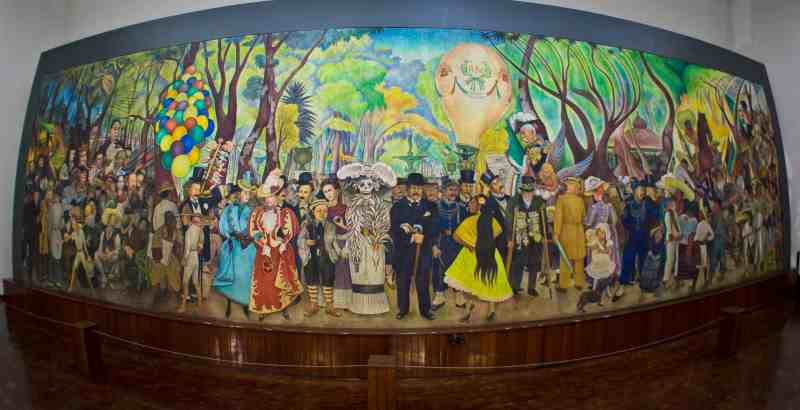 50-foot-long Diego Rivera mural painting of about 50 figures of people, significant throughout Mexican history, seen at the Deigo Rivera Mural Museum, one of the non-touristy things to do in Mexico City