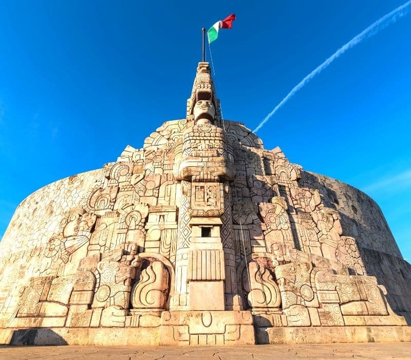 Mexican monument with Mexico's flag on top
