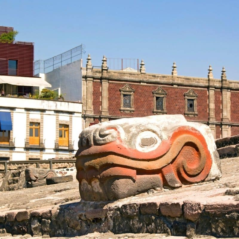 Aztec snake head sculpture at Templo Mayor