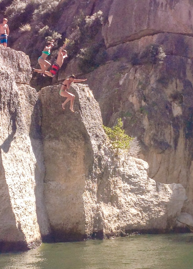 Cliff jumping in Bighorn Canyon in Montana