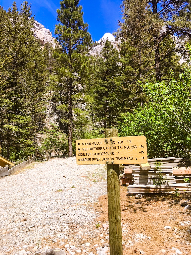 Trailheads into the mountains of Montana from the Meriwether Picnic Area