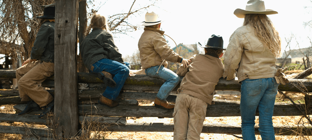 Kids on a ranch in Montana
