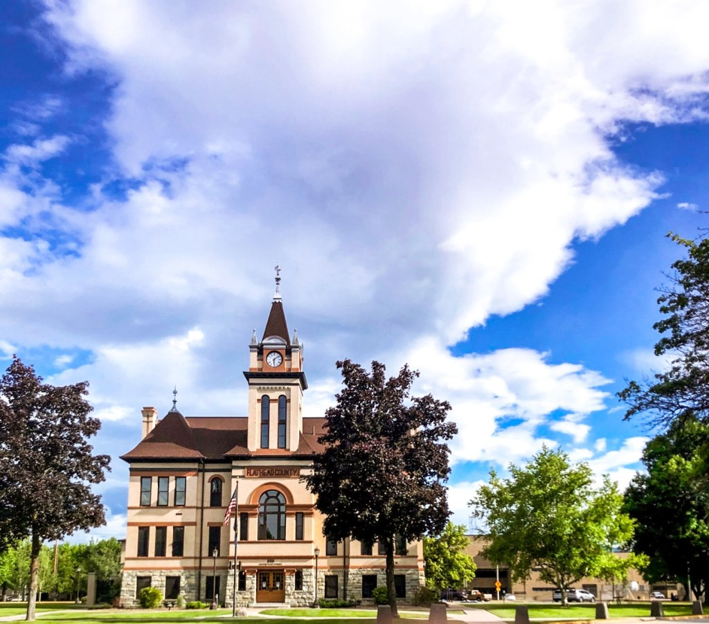Flathead County Courthouse is the focal point of the Courthouse Historic District in Kalispell, Montana