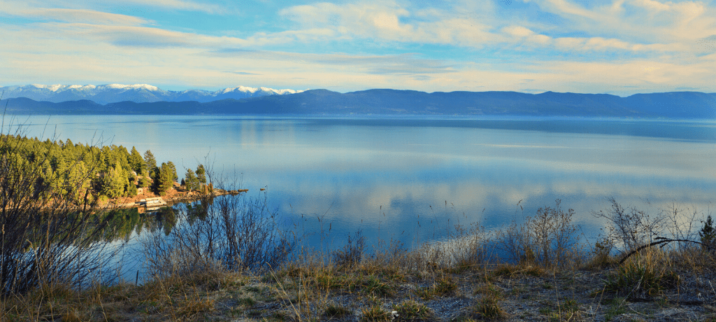 Scenic view of Flathead Lake taken from a lakeside lookout point.