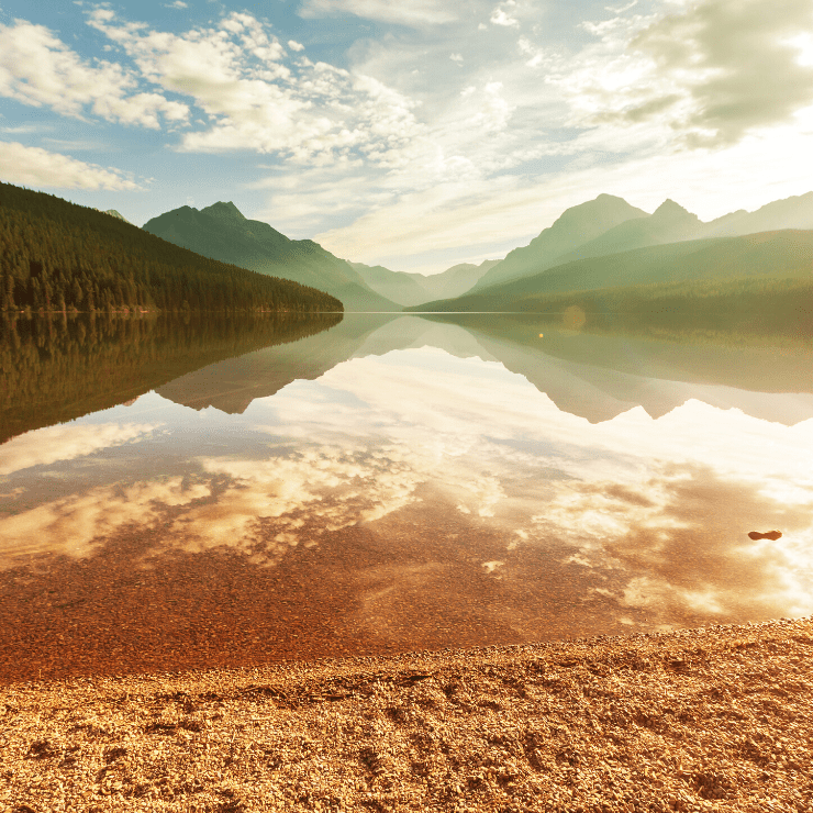 Bowman Lake is a tranquil Montana lake in Glacier National Park near the town of Polebridge.