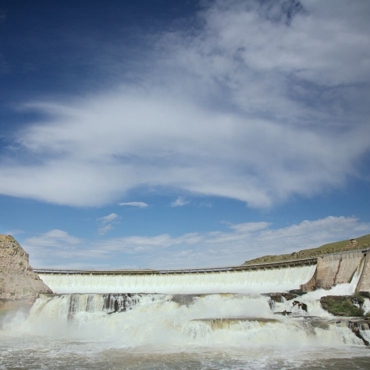 The Great Falls Dam -- one of five falls/dams near Great Falls along the Missouri River