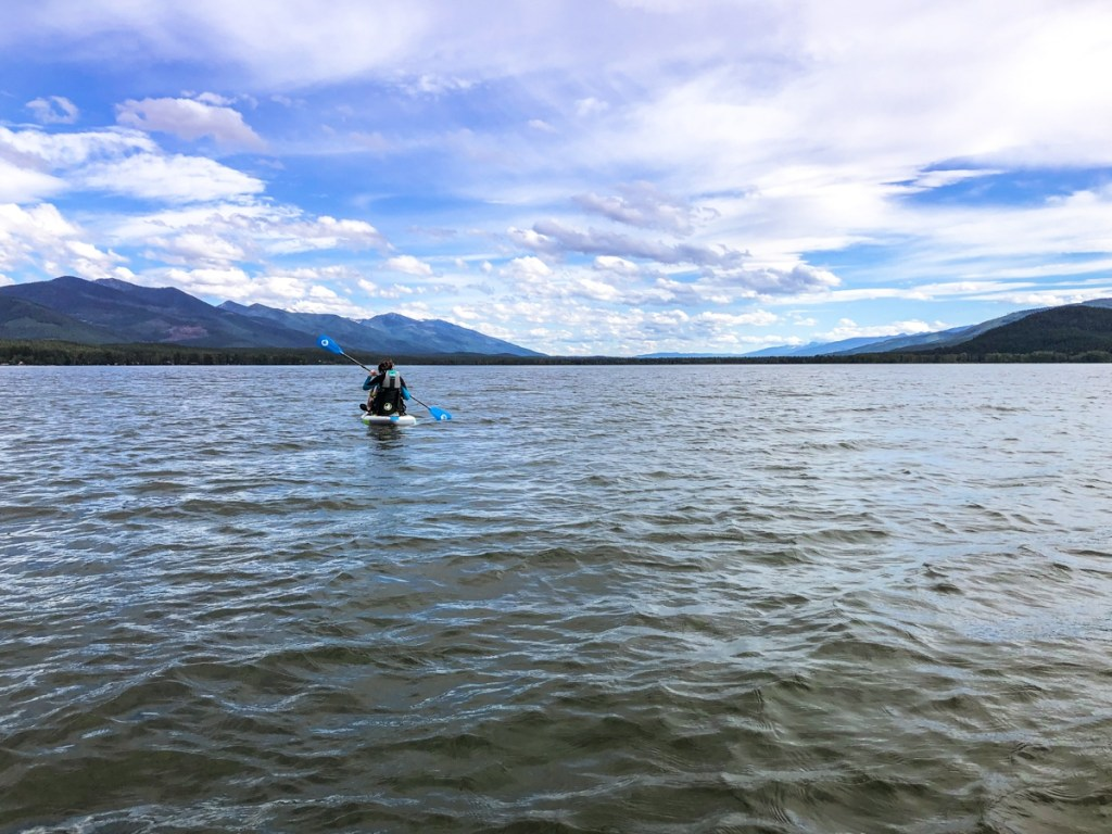 Paddle boarding on Swan Lake in the Flathead region of Montana