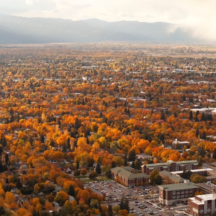 Fall foliage in October in beautiful Missoula, Montana