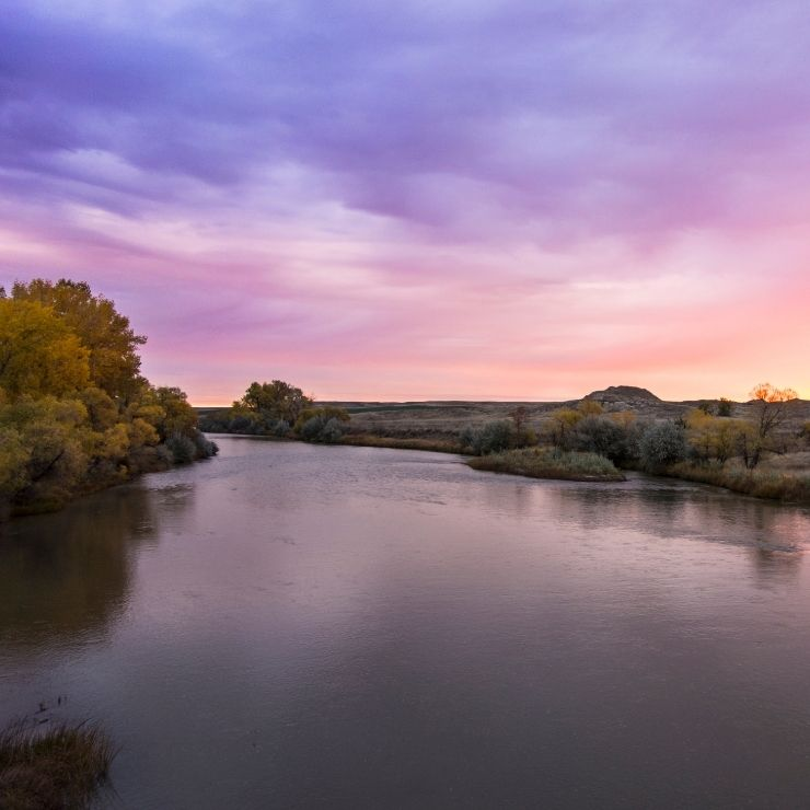 Tongue River in Southeastern Montana near Miles City.