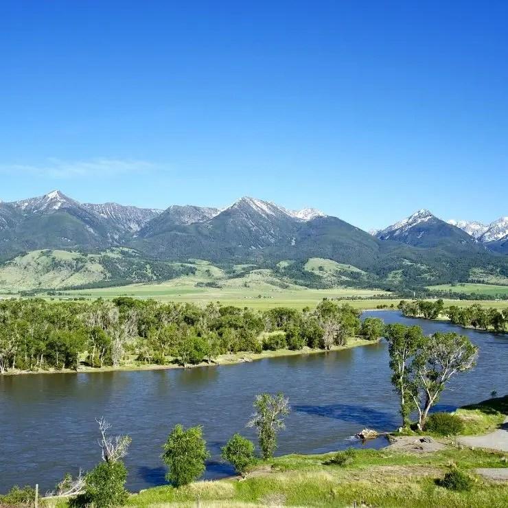 Yellowstone River Cutting its Beautiful Way Through the Valley Near Livingston, Montana