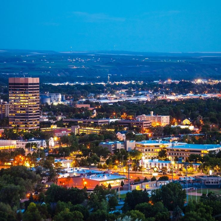 Billings Montana City Skyline at Dusk: Billings makes for an excellent romantic getaway in Montana