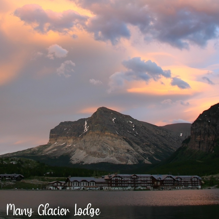 A view of Many Glacier Lodge in Glacier National Park from across Swiftcurrent Lake.
