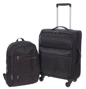 AIR CANADA BUSINESS ROLLER AND LAPTOP BACKPACK 2 PIECE LUGGAGE SET BLACK C0610S2 Set