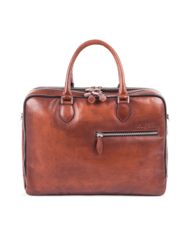 BUGATTI DOMUS BRIEFCASE IN LEATHER COGNAC 49545507-Cognac