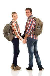 Backpack travel gear couple red