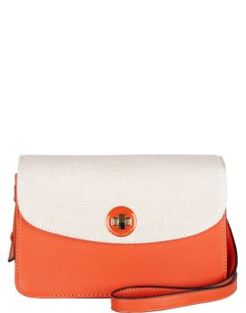 David Jones PU Structured Flapover Shoulder Bag Orange DJ1758N