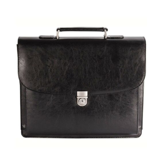 Bugatti Executive Leather 15.6 Laptop Briefcase EXB279 Black Front 1