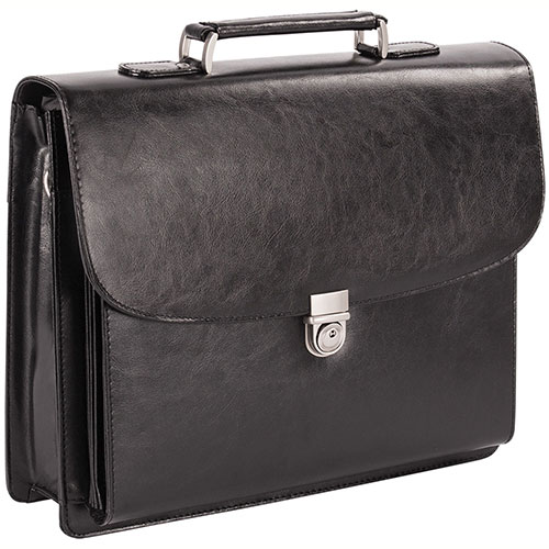 Bugatti Executive Leather 15.6 Laptop Briefcase EXB279 Black Side