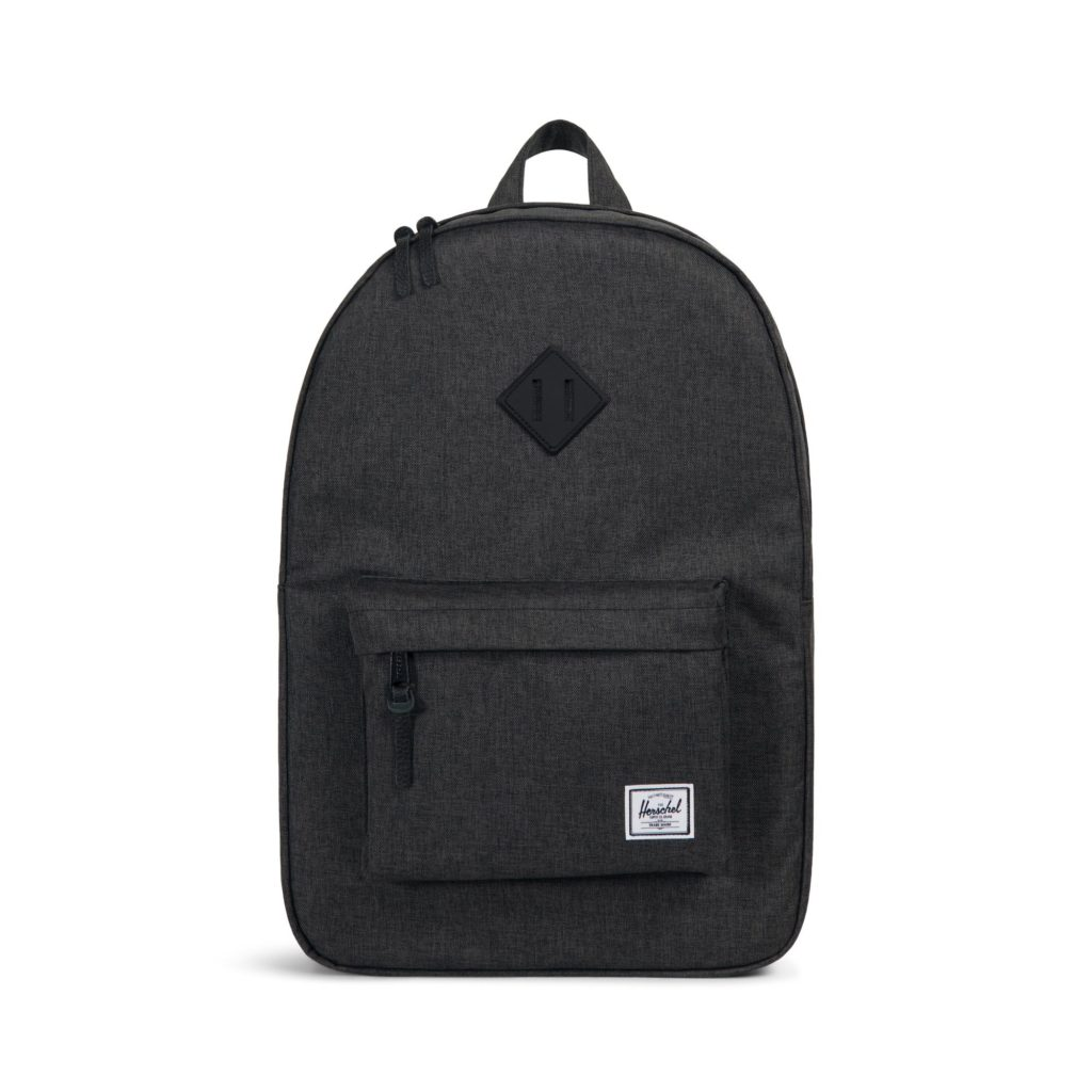 9703a61ee3d Herschel Supply Co Heritage Backpack Black Crosshatch Black Rubber Front