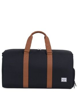 Herschel Supply Co Novel Duffle Mid-Volume Black Tan Synthetic Leather Front
