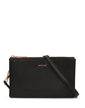 Matt and Nat Triplet Crossbody Loom Collection Black Rose Gold Front