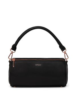 Matt and Nat Seoul Barrel Satchel Loom Collection Black Rose Gold Front