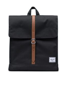Herschel Supply Co City Backpack Mid-Volume Black Tan Synthetic Leather Front 1